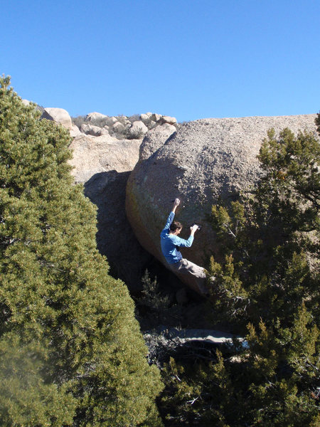 Rock Climbing Photo: Starting up the Sports Challenge problem.