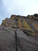 "Rock Climbing Photo: Joe leading ""Cameron's Corner"" on a chil..."