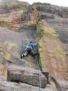 "Rock Climbing Photo: Joe clipping the second pin on ""Cameron's Cor..."