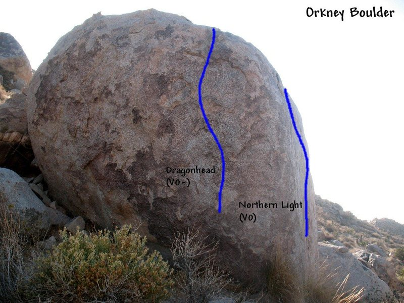 Photo/topo for the Orkney Boulder (E. Face), Joshua Tree NP