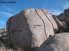 Rock Climbing Photo: Photo/topo for the Orkney Boulder, Joshua Tree NP