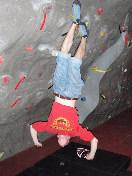 Rock Climbing Photo: kyle doing a toe-heel hook, and his hands are not ...