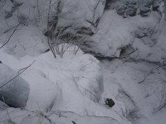 Rock Climbing Photo: Richard following Prestor John on a snowy day