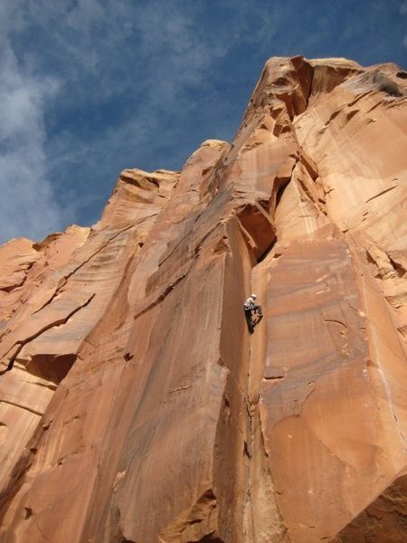 Rock Climbing Photo: Leading Where's Carruthers? in Indian Creek