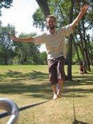 slacklining in Prince's Island Park, Calgary, AB, Canada
