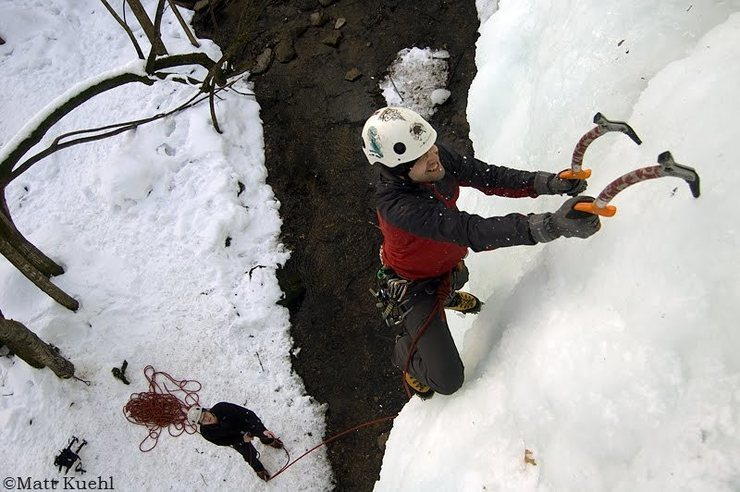 "Mike Ganley leading on ""Pokey Gonzales goes Ice Climbing."" Photo by Matt Kuehl."