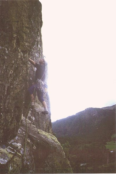 P.Ross on pitch 3 .Repeating the climb in the early 1990's.