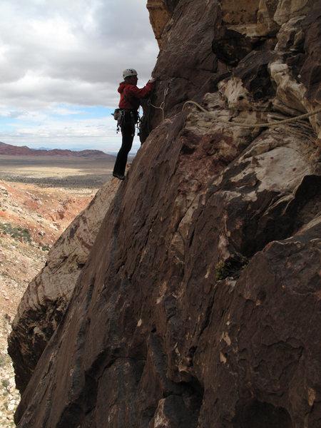 Rock Climbing Photo: maura, pitch 3 traverse.