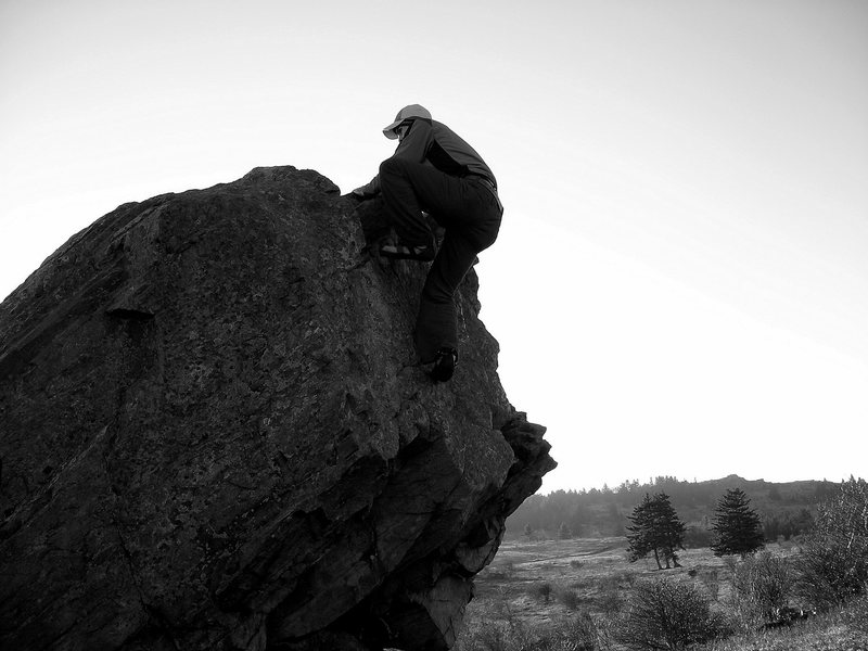"""Rock Climbing Photo: Aaron James Parlier warming up on """"Welcome To..."""