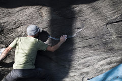 """Rock Climbing Photo: Aaron Parlier after the sit-start on """"Robot L..."""