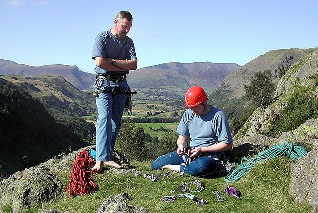 Climbers on the top of the South Crag.The skyline mountain on the right is Blencathra to the left Skiddaw. Photo Frank Seaton