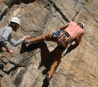 Rock Climbing Photo: Leading some twelve. Pulled a bolt out on the way ...