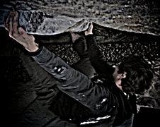 Rock Climbing Photo: Jason Baker working to gain the key left heel hook...