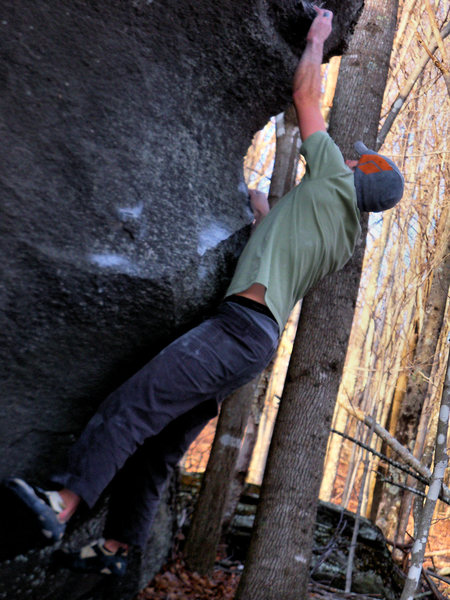 "Rock Climbing Photo: Aaron Parlier on the third move on ""thews&quo..."