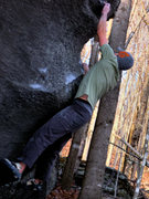 """Rock Climbing Photo: Aaron Parlier on the third move on """"thews&quo..."""