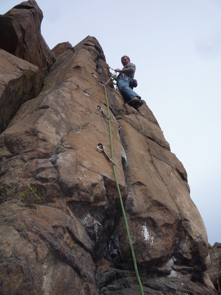 Rock Climbing Photo: The entire route with climber at the anchors.