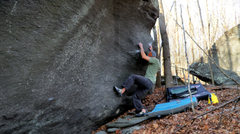 Rock Climbing Photo: Aaron Parlier trying to figure out what the start ...