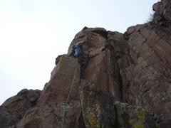 Rock Climbing Photo: Standing above the third bolt.  The crux is at the...