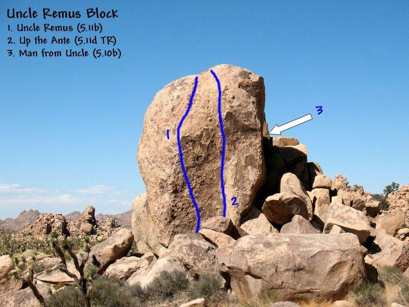 Rock Climbing Photo: Photo/topo for the Uncle Remus Block, Joshua Tree ...