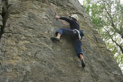 Rock Climbing Photo: Pulling the last crux move midroute