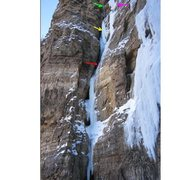 Rock Climbing Photo: Red - First belay. Yellow - KG and CP high point 1...