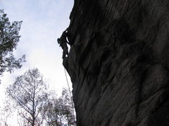 Rock Climbing Photo: Run it out on the 5.10.