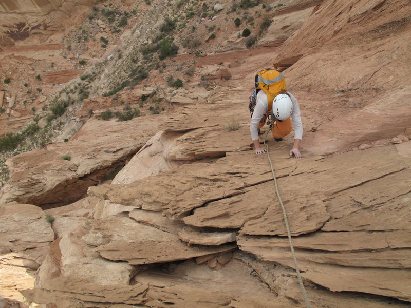 Rock Climbing Photo: Maura coming up spooky flakes near the top of pitc...