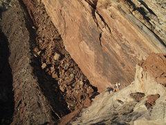 Rock Climbing Photo: Maura coming up the very nice ridge, above the cru...
