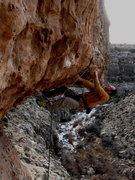 Rock Climbing Photo: Dan Foster pulling through the roof crux of Big Mo...