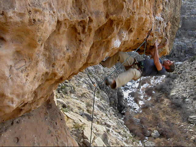 Myself on the first ascent of Big Mouth, Chevelon Canyon, AZ  11+.