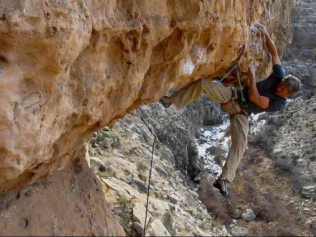 Rock Climbing Photo: FA of Big Mouth, 11+, Chevelon Canyon, AZ