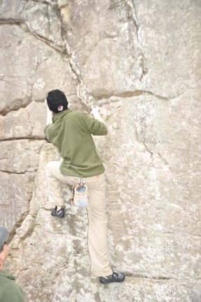 Rock Climbing Photo: 15 ft boulder problem, my highest ever without a r...