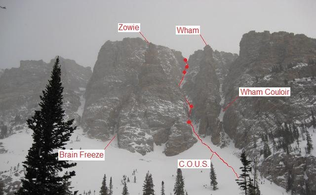 The route Chockstones of Unusual Size on the south face of Otis Peak.