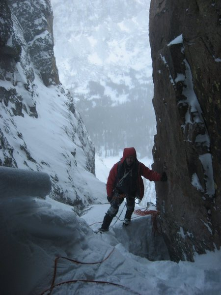 Rock Climbing Photo: Andy standing just above the opening that provides...