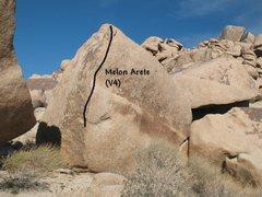 Rock Climbing Photo: Melon Arete (V4), Joshua Tree NP