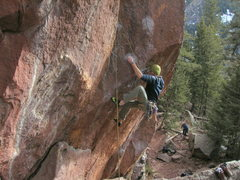 "Rock Climbing Photo: Dusty cranks up into the ""sentry box"" of..."