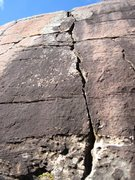 Rock Climbing Photo: Crack on a block in a corridor between two blocks....
