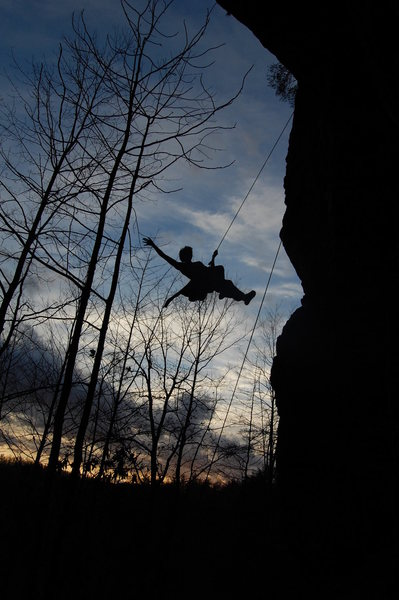 Rock Climbing Photo: Cleaning Ro Shampo after a sunset send