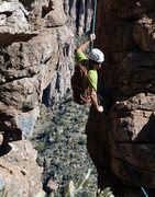 Rock Climbing Photo: Nestor rappelling after getting up #20 Project rou...