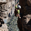 Nestor rappelling after getting up #20 Project route.
