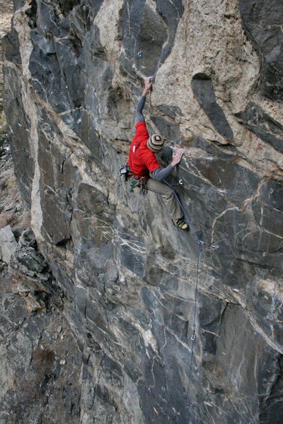 In the steep crux<br> -photo by Darren Mabe.