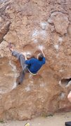 "Rock Climbing Photo: Trying ""Serengeti"" at the Happy Boulders..."