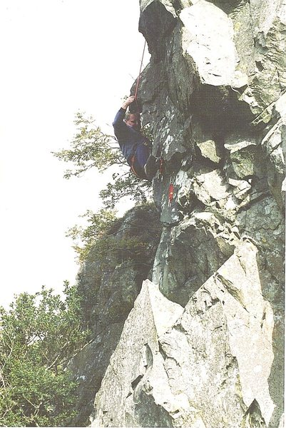 Rock Climbing Photo: The late Ray McHaffie on the crux section.