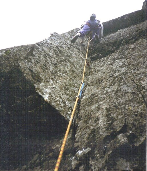 Andy Ross on the first ascent.
