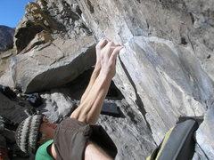Rock Climbing Photo: Max working Tendonitis Traverse.
