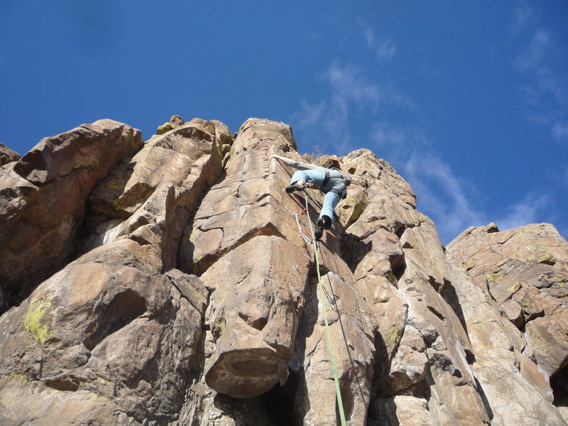 The route.  Above the crux and holding on.