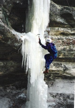 The Dagger' ice climb, about 1994. Climber, Tiffany Jurek.