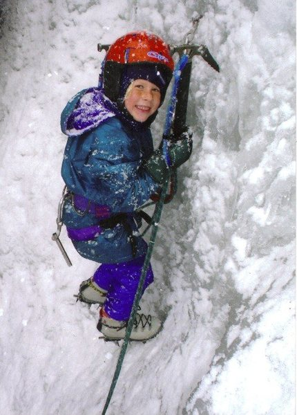 My daughter Corey leading her first ice climb sport style, at the age of six.