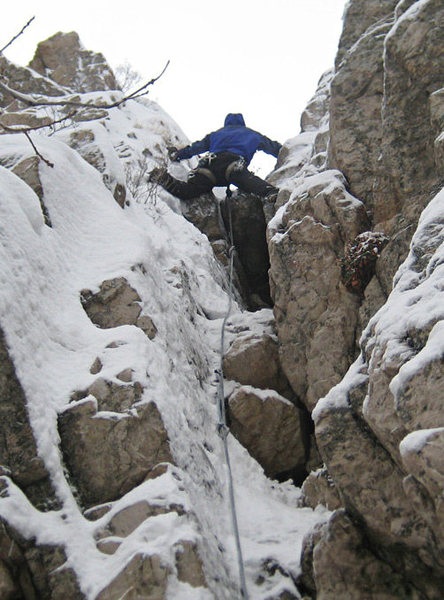 Me on a mixed route Crisco and I did in Rock Canyon.