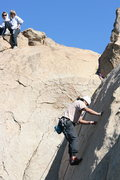 Rock Climbing Photo: Al nearing the top of English Smooth Sole Slab. 1-...